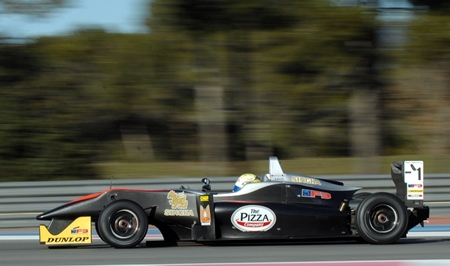 Sandy Stuvik drives his Formula 3 at the Paul Ricard Circuit in southern France, Saturday, Feb. 16.