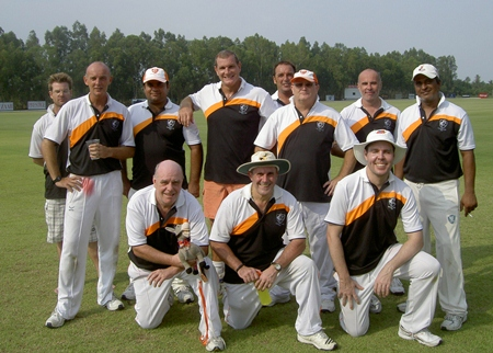 The Pattaya Cricket Club team lines up prior to the opening fixture at their new home ground.