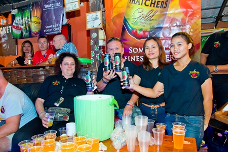 Staff at the Kepplers Cider station (left) were kept busy throughout the evening.