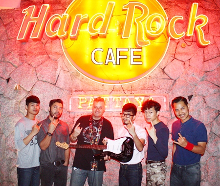 25 Hours pose for a photo before their performance at Hard Rock Café Pattaya on Saturday, March 2.