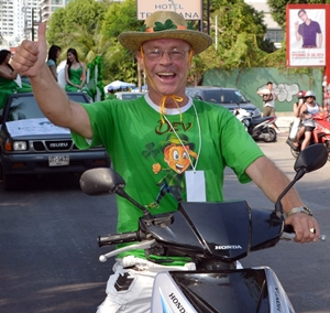 Parade organizer, Steven Deveraux, decided to ride rather than march.