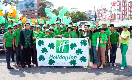 Holiday Inn Pattaya employees, led by Garth Solly (center), take part in the St. Patrick's Day festivities.