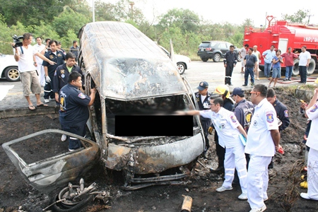Seven people perished, including two children, when fire swept through their minivan after it crashed into a signpost near Bira Circuit on Highway 36.