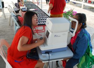 Free eye exams are part of the Sattahip mobile unit's services offered to the community.