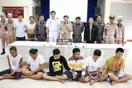 """The """"M-Bang"""" gang, allegedly led by Phai Phomsawaree (striped shirt), has been brought down by police."""