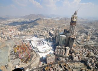The Makkah Clock Royal Tower overlooks the Kaaba in Saudi Arabia. (Wikipedia commons)