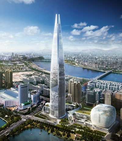 The 556-meter tall Lotte World Tower in Seoul.