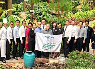 Chatchawal Supachayanont (centre), GM of Dusit Thani Pattaya together with his management team celebrated the hotel's latest achievement: receiving the 'Certificate of Five Leaves' presented by the Green Leaf Foundation (Thailand) recently. The award is in recognition of the hotel's excellent management of its green practices and initiatives. The Certificate of Five Leaves is the highest recognition that signifies outstanding performance and Dusit Thani Pattaya has been enjoying the accolade since 2003. Earlier, the hotel was also awarded the Silver Certification Status from Earth Check after it successfully sustained its first Silver Status two years ago.