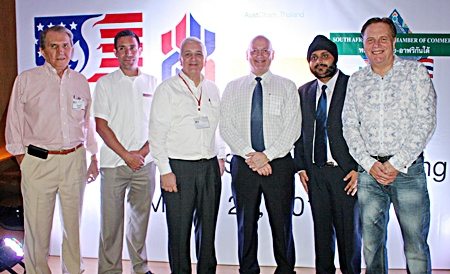 George T. Strampp (Automotive Manufacturing Solutions), Philippe Kronberg, (GM Hilton Pattaya). David R. Nardone (Hemaraj Land and Development PCL), Graham Macdonald (MBMG), Apichart Gulati (Blue Sky Developer) and Simon Matthews (Manpower Group).