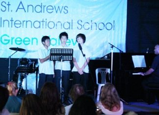 """Beautiful boys' trio in Year 8 singing """"Where is Love"""" from the musical Oliver Twist."""