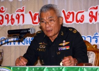 ISOC Chonburi Deputy Director Maj. Gen. Ronakorn Dulyarat presides over the latest recruitment meeting.