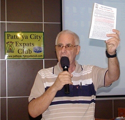 MC Richard Silverberg starts the 24th March meeting by reminding all of the free newsletters available on the information table.