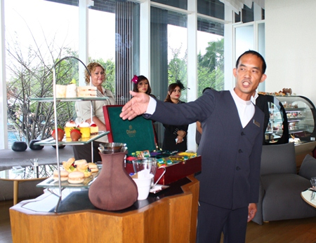 Drift Manager Albert Jethanamest introduces the Afternoon tea served in the Drift lounge.