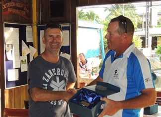 Dayle Hoek (right) receives his winning trophy from Matt, one of the Aussie Amateur tournament's joint organisers.