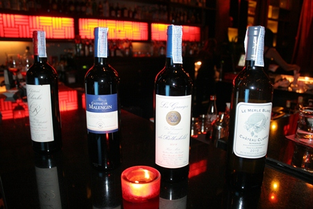 """Rothschild wines under the """"Compagnie Vinicole Baron Edmond de Rothschild"""" label are lined up and ready for the evening guests."""
