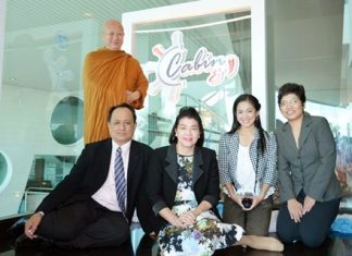 On the auspicious day of the grand opening of the Cabin Grill restaurant at the A-One The Royal Cruise Hotel Pattaya, Suppawan Ratanaopath (2nd left) together with her management team organized a Buddhist blessing ceremony officiated by the Venerable Phra Ajarn Mitsuo Gavesako (standing), abbot of Watsunanthawanaram in Kanchanaburi.