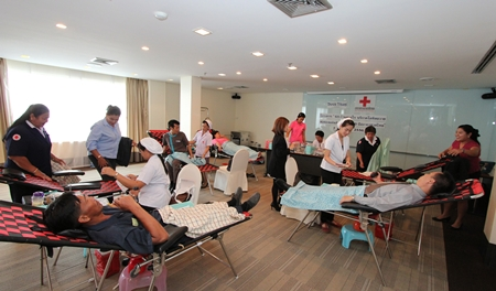 To mark the 120th anniversary of the Thai Red Cross Society and to celebrate His Majesty the King's 86th birthday this year, staff and management of the Dusit Thani Pattaya joined in the national program to encourage all Thais to donate blood to the society's blood bank.
