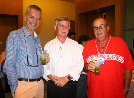 (L to R) Ingo G. Raeuber (Group General Manager of Pinnacle Hotels, Resorts & Spas), Hans Banzinger (Director of Swiss Paradise Resort Pattaya) and Greig Ritchie (Director of Sales-S.E. Asia, Pan Pacific Travel Corporation Limited) enjoy the welcome drinks together.