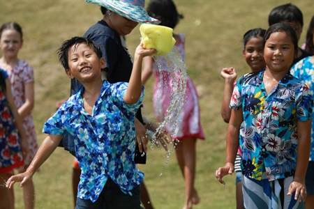 Ready, aim, fire! Primary students from Garden have fun at Songkran.