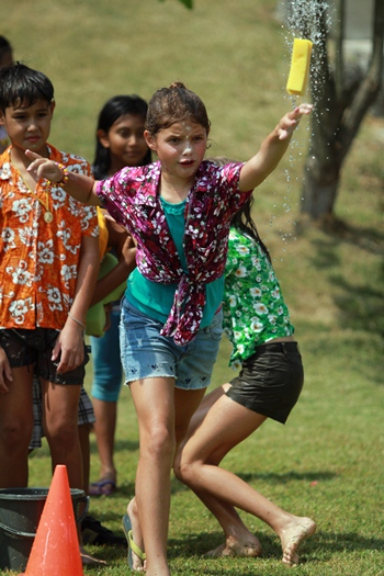 Splash-tastic! Garden's primary students enjoy a range of Songkran activities.