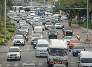 Holiday traffic in Pattaya continues to get worse by the year, as shown here during this year's relatively minor Labor Day holiday May 1.