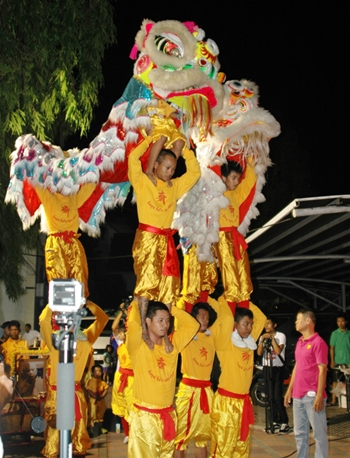 A lion-dance troupe from the Sawang Boriboon Thammasathan Foundation entertains guests.