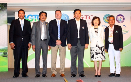(L to R) Chiruit Tsarangkun Na Ayuthaya, Director of the Thailand Convention & Exhibition Bureau; Pattaya Deputy Mayor Ronakit Ekasingh; Peter Walton, President & Chief Executive of IAGTO; Chonburi PAO President Wittaya Kunplome; TAT Deputy Governor Juthaporn Rerngronasa, and Kullatorn Mesommonta, President of the East Coast Golf Courses Management Association during the opening ceremonies for the Asia Golf Tourism Convention 2013.