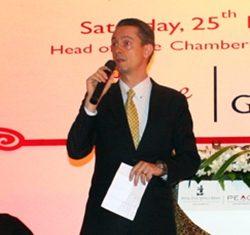 Acting president of the DeVine Wine Club, GM Christophe Voegeli addresses the gathering amongst wild animals.