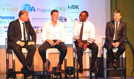 (From left) former Manchester United stars Clayton Blackmore, Lee Sharpe, Andy Cole & Denis Irwin talk on stage at the Centara Grande Mirage Beach Resort in Pattaya, Saturday, June 8.