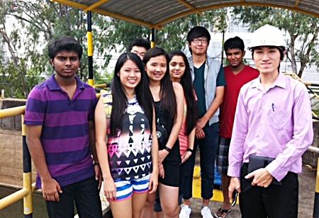 Students visit a water plant on Koh Samet.