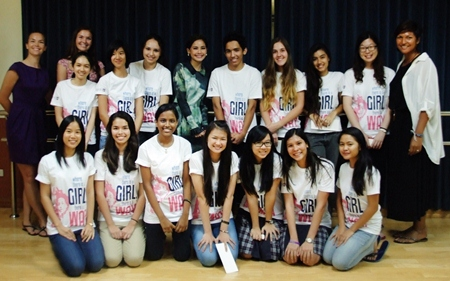Yaya (centre) with the Regents' Girl Up group.