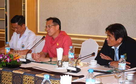 Chonburi Public Health Doctor Smith Prasannakarn, MD, Deputy Governor Pongsak Preechawit, and Deputy Mayor Ronakit Ekasingh discuss preparations for the 21st International Union for Health Promotion and Education scheduled for late August.