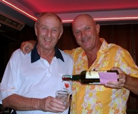 Colin Davis (left) accepts a drop of the 'good stuff from Monthly Medal winner Nick Shaw.