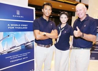 (From left) Patinyakorn Buranrom, Ob-oom Chutrakul, Social Director of Sansiri PLC, and Michael Spies pose for a photo at the press conference held in Bangkok on June 20 to announce Thailand's entry into the TRANSPAC 2013 ocean race.