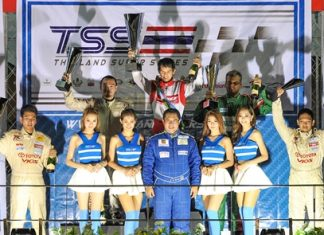 Andrey (standing right rear) takes third place on the podium in Race 1.