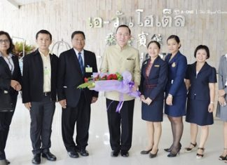 M.L. Panadda Diskul (centre), Deputy Permanent Secretary for Interior, chaired a seminar at the A-One Royal Cruise Hotel Pattaya recently to train border officials on negotiation skills in preparation for the imminent forming of the ASEAN Community in 2015. He was welcomed by Tassanee Maneenet (4th right), Human Resources Manager of the hotel.