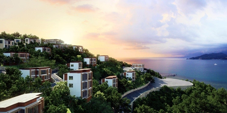 Peninsula with private beach and private jetty along Patong Bay.