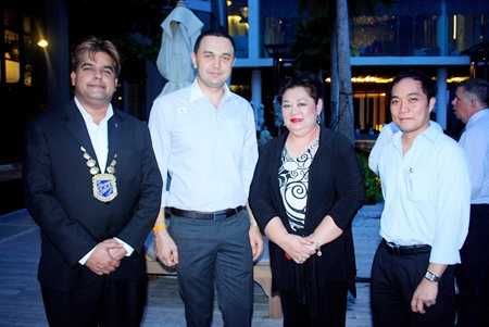 (L to R) Tony Malhotra, President, Skål International Pattaya and East Thailand, Dimitri Chernyshev, Executive Assistant Manager, Pullman Pattaya Hotel G, Juthaporn Huyakorn, BHP director of Business Development and International Affairs and Neil Maniquiz, Head of the International Marketing of Bangkok Hospital Pattaya.