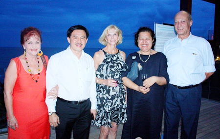 (L to R) Elfi Seitz, Surat Mekavarakul, CEO of Cape Dara Resort, Judy Hoppe, Alvi Sinthuvanik and Philippe Delaloye.
