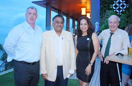 (L to R) Joe Cox, MD of Defence International Security Services, Peter Malhotra, MD of Pattaya Mail Media Group, Papakan Saguansap, Spa Manager at the Tea Tree Spa, Holiday Inn and Dr. Iain Corness.