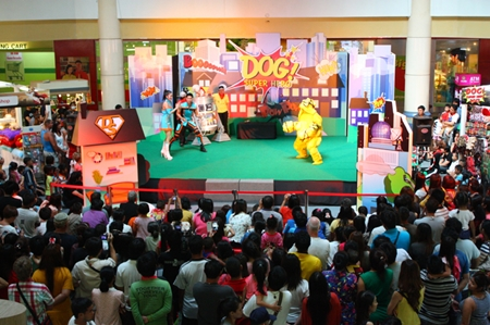 Stage performances attract a large audience of children and adults.