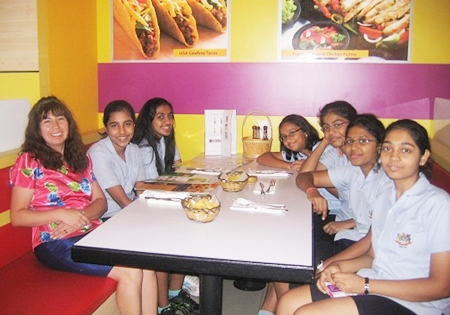 Spanish teacher Senora Cecilia joins the students for a taste of home.