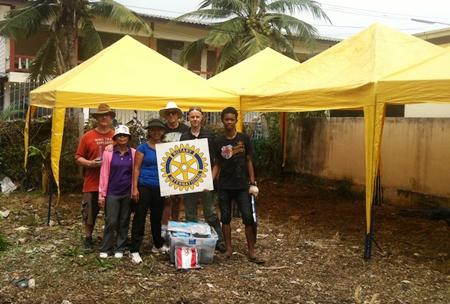 Rotary Club Eastern Seaboard handing over tents.