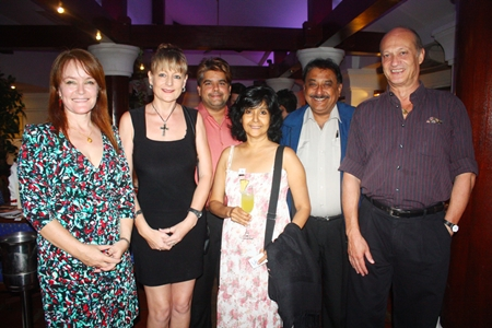 (L to R) Shana Kongmun, Editor of Chiang Mai Mail, Angie Turton, Real Estate Thailand Magazine Russian Edition, Tony Malhotra, President of Skål Int'l Pattaya & East Thailand, PMTV Director Sue Kukarja, Peter Malhotra, MD of Pattaya Mail Media Group and Philippe Delaloye.