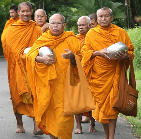 The monks arrive at the Father Ray Foundation.