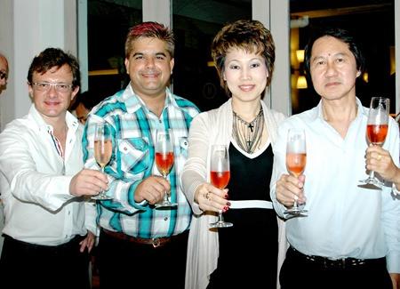 (L to R) Davide Contu Salis, G Four Fine Wines; Tony Malhotra, Pattaya Mail; Nannadda Supakdhanasombat, director of MarCom and Sophon Vongchatchainont GM of Pullman Pattaya Hotel G.