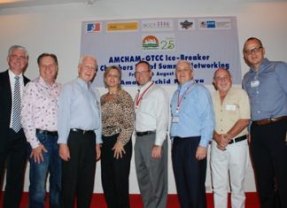 Recently, the American Chamber of Commerce Thailand (AMCHAM Thailand) hosted a joint Chamber Summer networking event at Amari Orchid Pattaya. The joint chambers consisted of the Australian Chamber of Commerce Thailand (AustCham), British Chamber of Commerce Thailand (BCCT), South African Chamber of Commerce Thailand (SACC), and the German-Thai Chamber of Commerce (GTCC) who were warmly welcomed as a new participant to the joint Chamber events. All members were welcomed by Brendan Daly, General Manager of Amari Orchid Pattaya. (L to R) Brendan Daly, General Manager of Amari Orchid Pattaya; Simon Matthew, Vice Chairman of BCCT; Karl-Heinz Heckhausen, President of GTCC; Judy A. Benn, Executive Director of AMCHAM Thailand; Matthew Bradley, President of AMCHAM Thailand; David R. Nardone, President & Chief Executive Officer of Hemaraj Land and Development Public Company Limited; David Bell, Director of AustCham Thailand; Jorg Buck, Executive Director of GTCC.