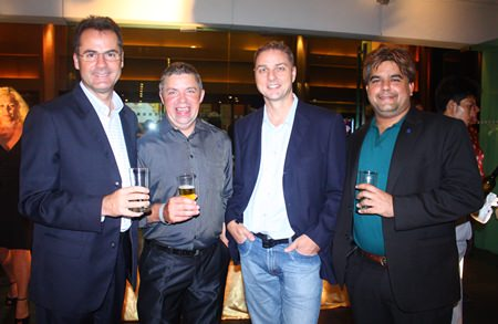 (L to R) Richard Margo, Resident Manager of Amari Orchid Pattaya, Paul Strachan, Russell Jay and Tony Malhotra.