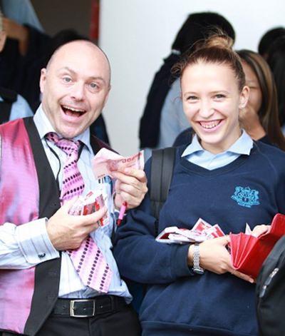 Head of English Language Support Mr Berry enjoys Roald Dahl Day.
