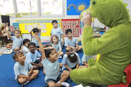 A friendly crocodile strolled into some Year 2 classes.